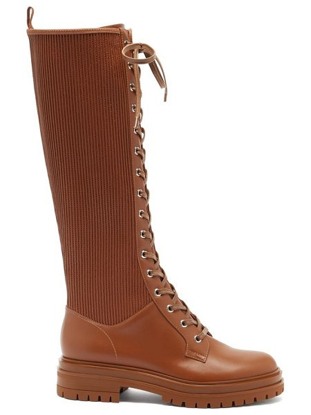Gianvito Rossi martis lace-up leather knee-high boots in brown