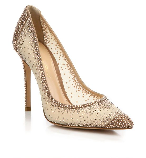 GIANVITO ROSSI crystal-embellished pumps - Crystal-embellished mesh point-toe pump with suede trim....