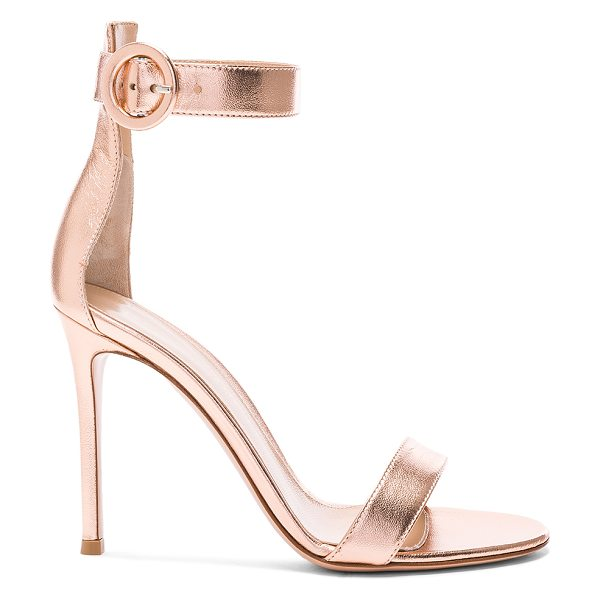 Gianvito Rossi Metallic Leather Ankle Strap Heels in metallics - Metallic leather upper with leather sole.  Made in...