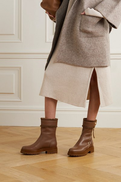 Gianvito Rossi montreal shearling-trimmed leather ankle boots in tan
