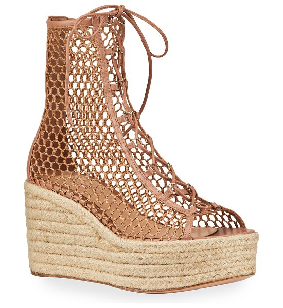 Gianvito Rossi Napa Mesh Lace-Up Wedge Espadrilles in beige