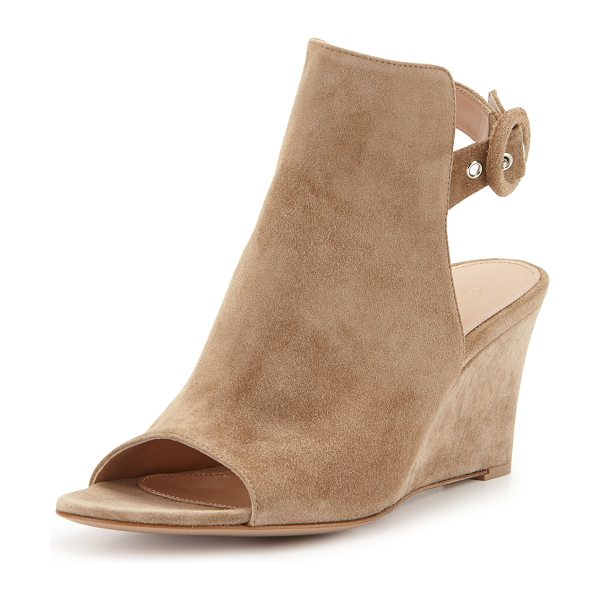 """Gianvito Rossi Open-Toe Slingback Wedge Bootie in brown light - Gianvito Rossi suede wedge bootie. 3"""" covered wedge..."""