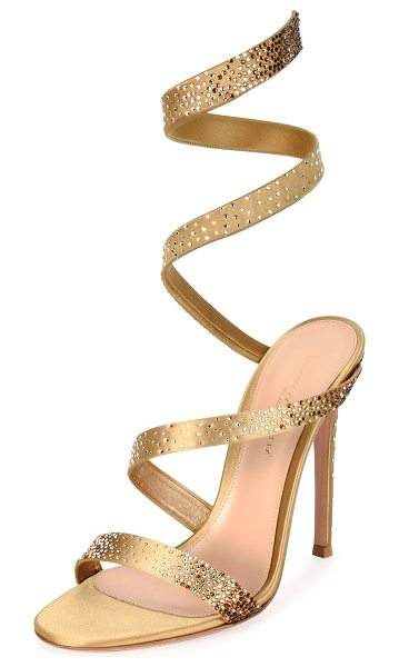 """Gianvito Rossi Opera Ankle-Wrap 105mm Sandal in gold - Gianvito Rossi crystal-embellished satin sandal. 4.1""""..."""