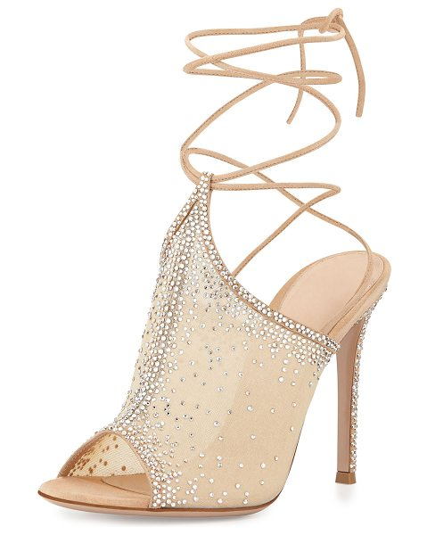 Gianvito Rossi Etoile Crystal Lace-Up Sandal in nude - Gianvito Rossi crystal-embellished organza sandal with...
