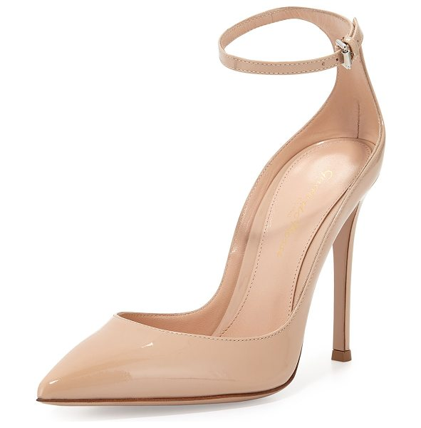 "Gianvito Rossi Patent low-collar ankle-wrap pump in nude - Gianvito Rossi patent leather pump. 4. 3"" covered heel...."