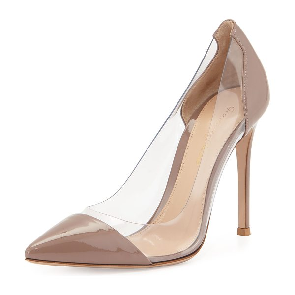 Gianvito Rossi Patent & PVC Illusion Pump in rose - Gianvito Rossi patent leather pump. Illusion PVC sides....