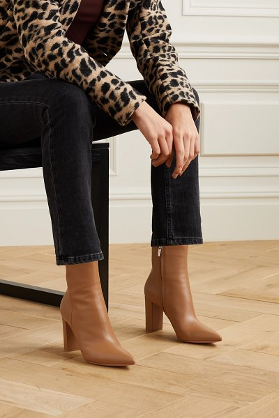 Gianvito Rossi piper 85 leather ankle boots in beige
