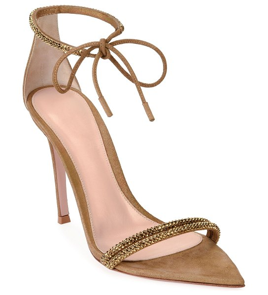 Gianvito Rossi Pointed Open-Toe Ankle-Toe Sandals in gold