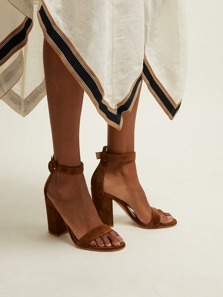 Gianvito Rossi portofino 100 suede sandals in tan