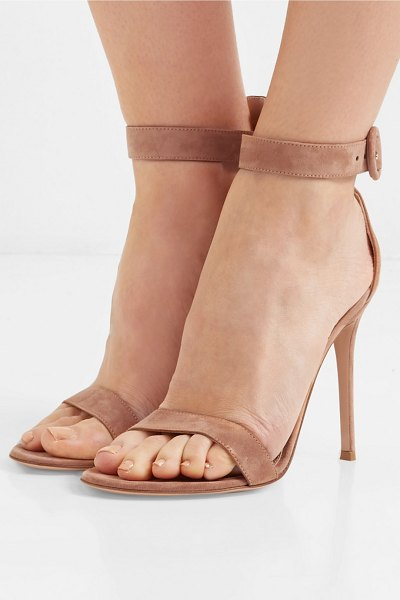 Gianvito Rossi portofino 105 suede sandals in neutral