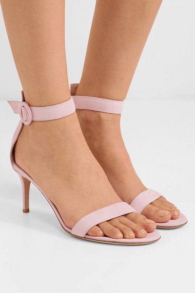 Gianvito Rossi portofino 70 suede sandals in baby pink - EXCLUSIVE AT NET-A-PORTER.COM. At only 3 inches high,...