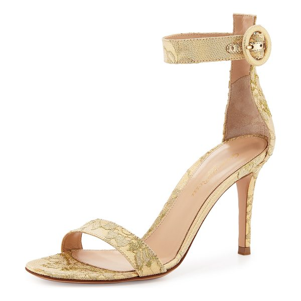 "Gianvito Rossi Portofino Lace Ankle-Strap 85mm Sandal in gold - Gianvito Rossi metallic lace d'Orsay sandal. 3.3""..."
