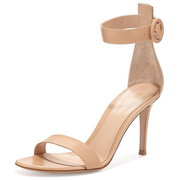 Gianvito Rossi Portofino leather ankle-strap 85mm sandal in nude