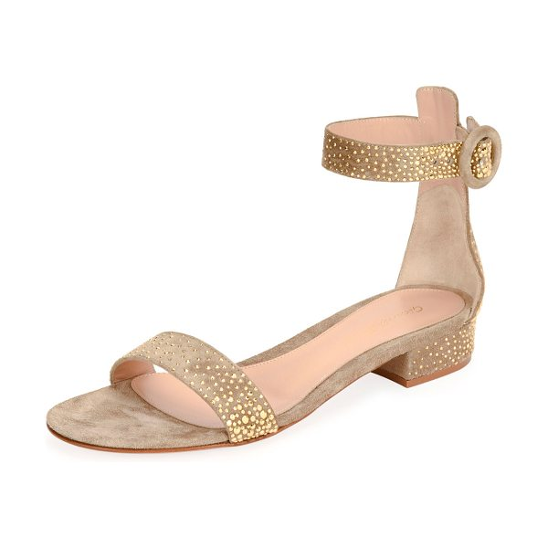"Gianvito Rossi Portofino Studded 20mm Sandal in bisque/gold - Gianvito Rossi suede sandal with golden stud trim. 0.8""..."