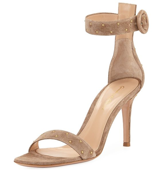 Gianvito Rossi Portofino Studded Suede Ankle-Wrap Sandal in bisque