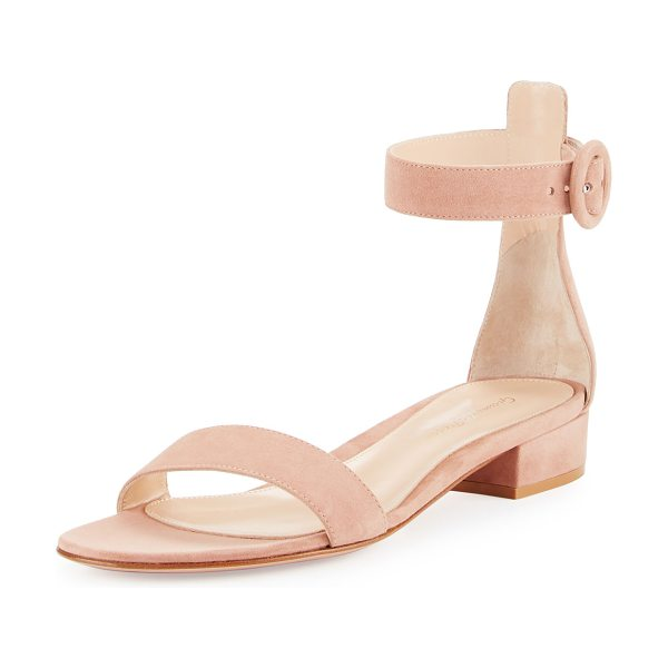 Gianvito Rossi Portofino Suede Ankle-Wrap 20mm Sandal in nude - Gianvito Rossi suede sandal. Available in multiple...
