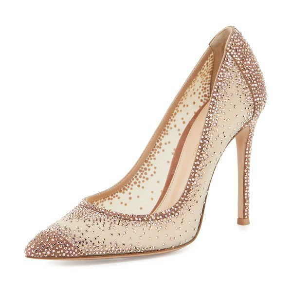 Gianvito Rossi Rania Crystal Illusion 105mm Pump in praline/nude - Gianvito Rossi suede pump with crystal-embellished,...