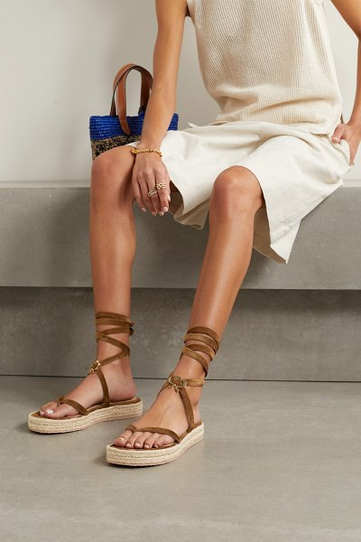 Gianvito Rossi ribbon beachclub 20 embellished suede espadrille sandals in brown