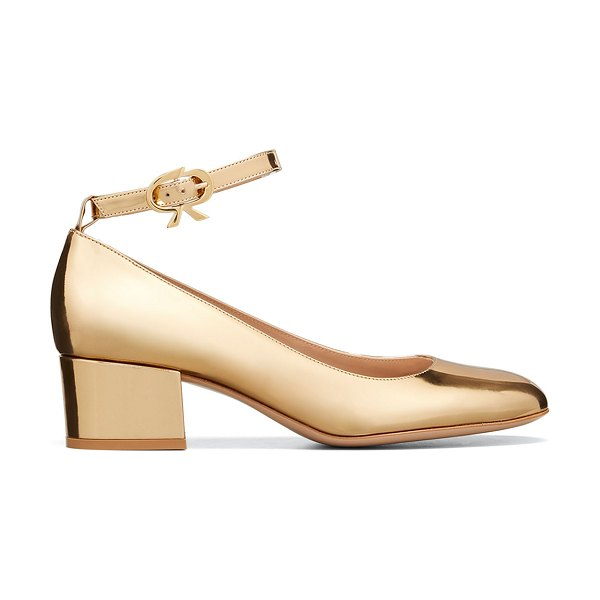 Gianvito Rossi Ribbon Metallic Ankle-Strap Pumps in mekong