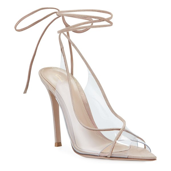Gianvito Rossi Rosa Open-Toe Plexi Ankle-Tie Sandals in medium beige