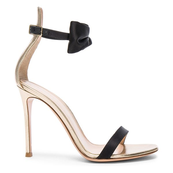 Gianvito Rossi Satin & Leather Bow Portofino Heels in black & mekong - Satin and leather upper with leather sole. Made in...