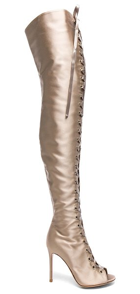 Gianvito Rossi Satin Marie Lace Up Boots in neutrals - Satin upper with leather sole.  Made in Italy.  Shaft...