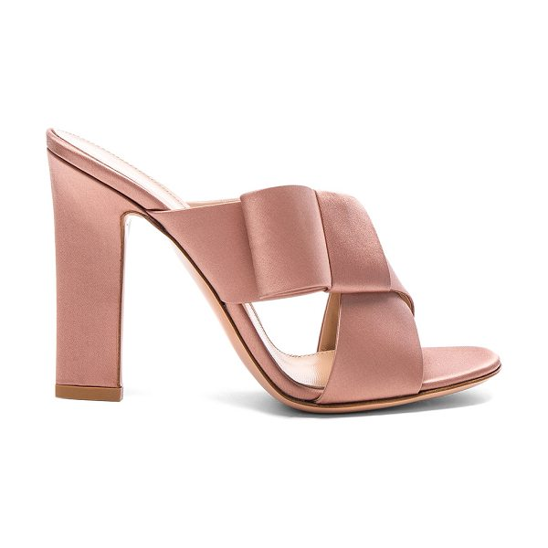 Gianvito Rossi Satin Obi Bow Mules in pink - Satin fabric upper with leather sole.  Made in Italy. ...
