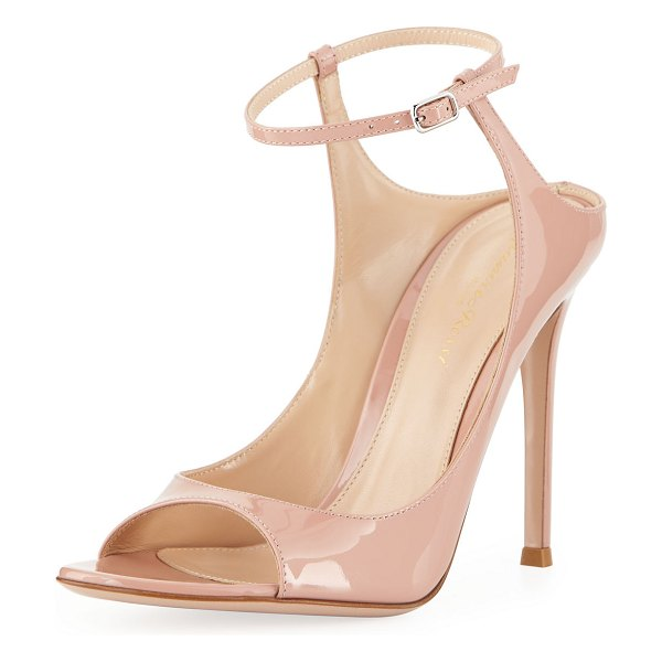 Gianvito Rossi Shiny Ankle-Strap Sandals in nude