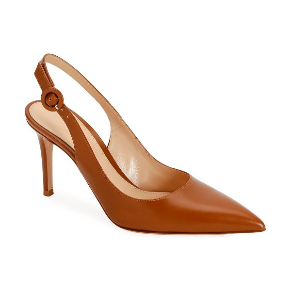 Gianvito Rossi Smooth Leather Slingback Pumps in light brown