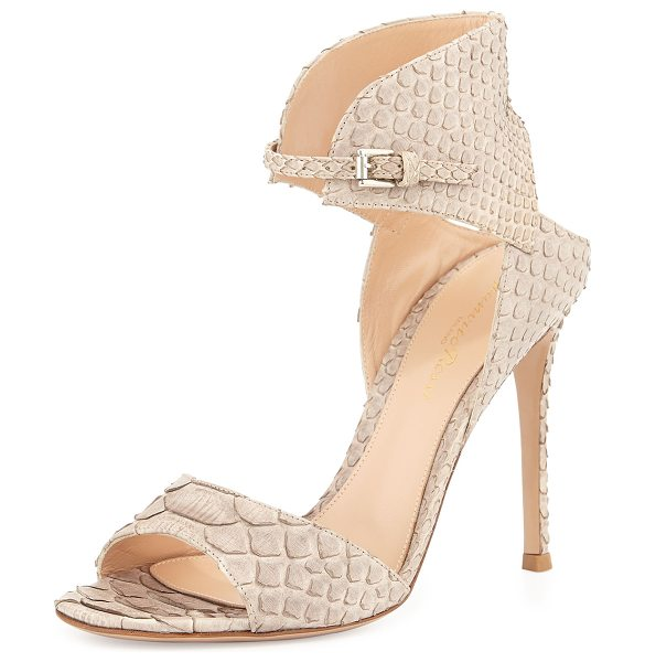 "Gianvito Rossi Napa Leather Ankle-Cuff Sandal in lt nude - Gianvito Rossi sandal in napa leather. 4.5"" covered..."