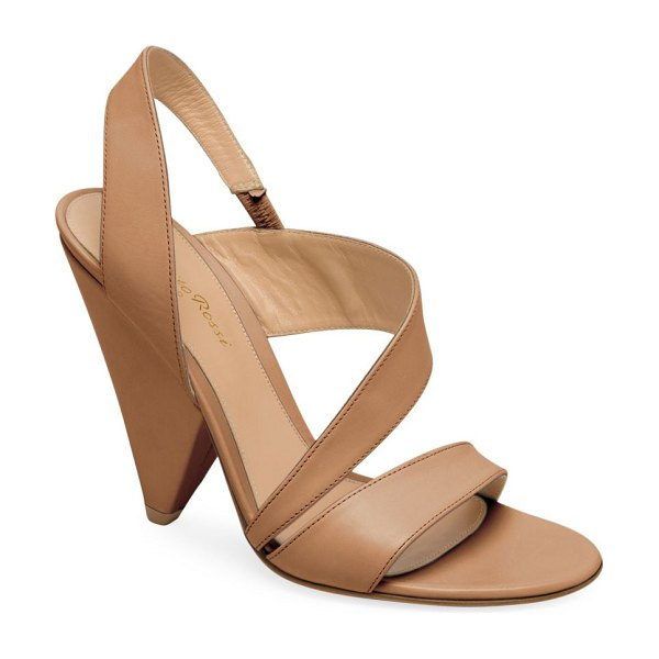 Gianvito Rossi strappy leather triangle heel sandals in tan