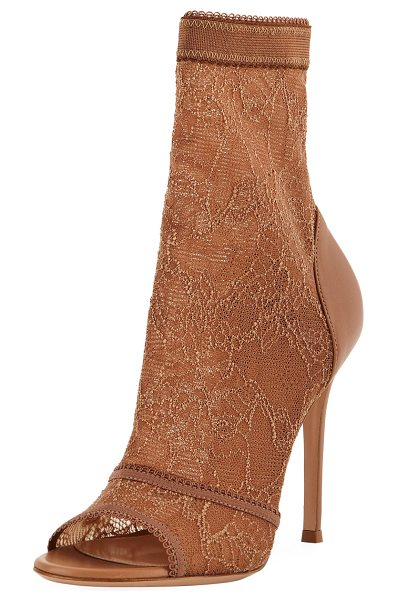 Gianvito Rossi Stretch-Lace High Booties in nude - EXCLUSIVELY AT NEIMAN MARCUS Gianvito Rossi bootie in...