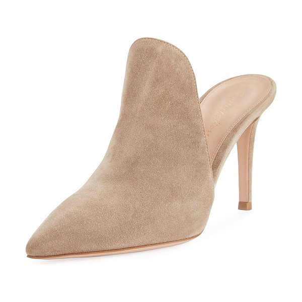 "Gianvito Rossi Suede 85mm Cutaway Mule in beige - Gianvito Rossi suede mule. 3.3"" covered stiletto heel...."