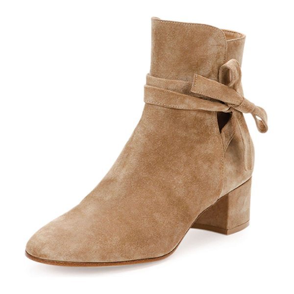 """Gianvito Rossi Suede ankle-tie bootie in bisque - Gianvito Rossi suede bootie. 1. 8"""" covered block heel...."""
