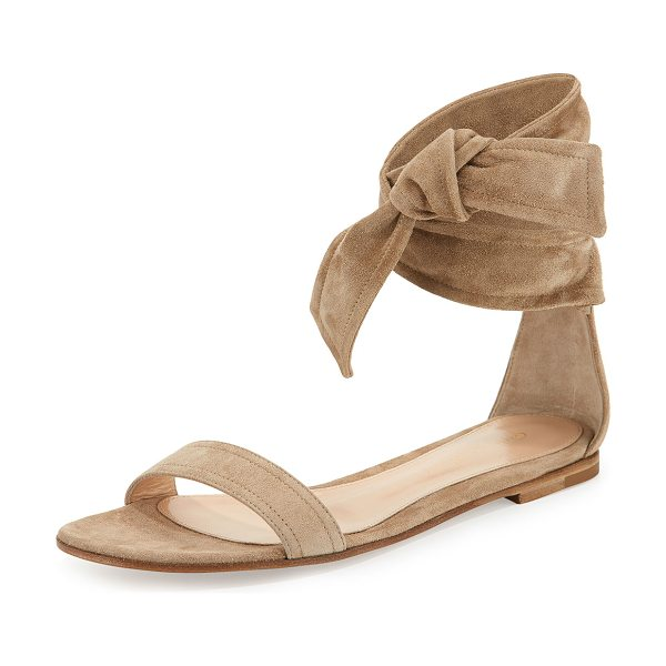 """Gianvito Rossi Beverly Suede Ankle-Tie Flat Sandal in bisque - Gianvito Rossi suede sandal. 0.3"""" stacked flat heel...."""