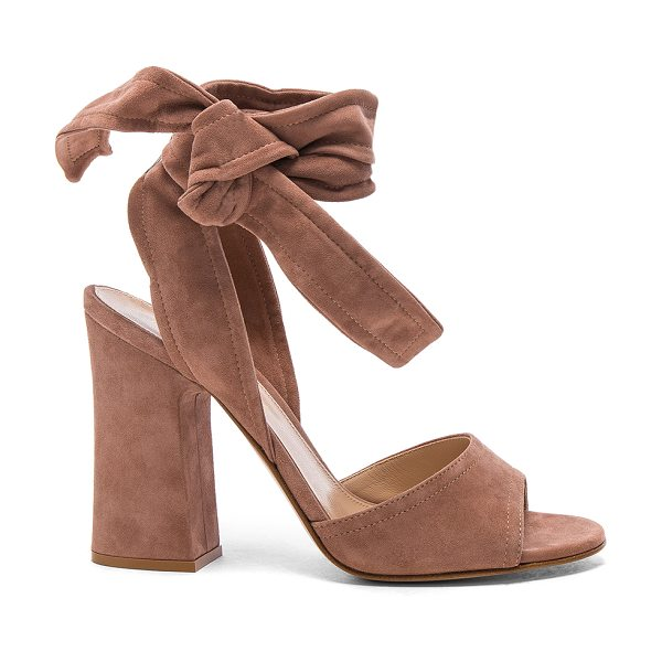 Gianvito Rossi Suede Nika Ankle Tie Heels in praline - Suede upper with leather sole. Made in Italy. Approx...