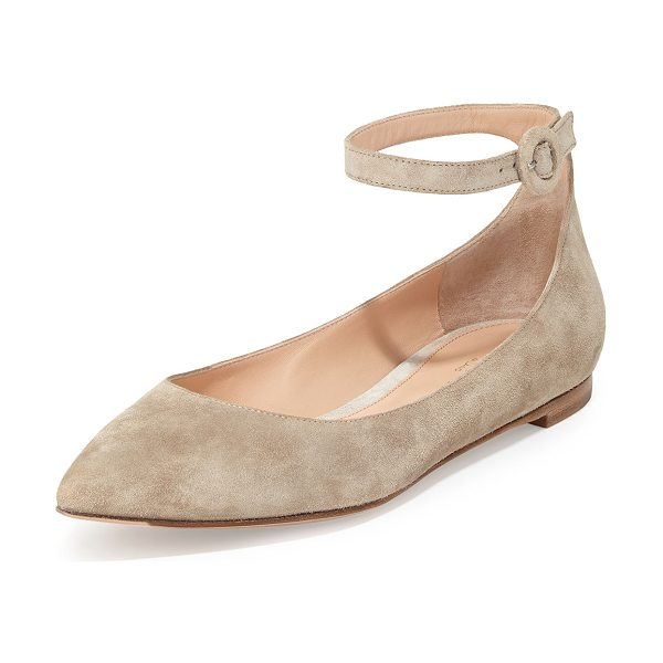 "Gianvito Rossi Suede Ankle-Wrap Skimmer Flat in brown light - Gianvito Rossi suede skimmer. 0.3"" flat heel. Pointed..."