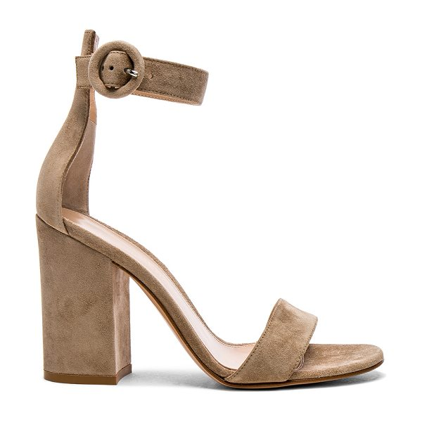 Gianvito Rossi Suede Versilia Block Heels in neutrals - Suede upper with leather sole.  Made in Italy.  Approx...