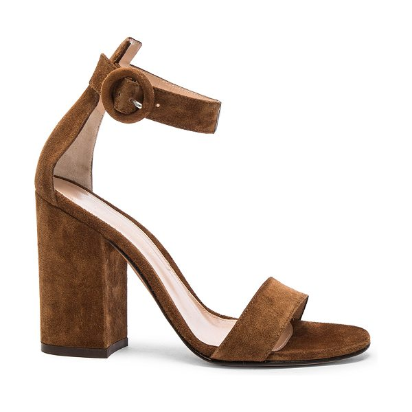 GIANVITO ROSSI Suede Versilia Block Heels in brown - Suede upper with leather sole.  Made in Italy.  Approx...
