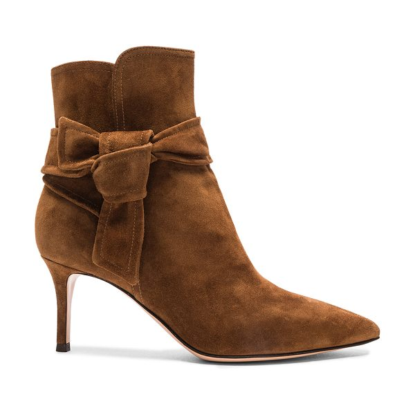 Gianvito Rossi Suede Bow Booties in brown - Suede upper with leather sole.  Made in Italy.  Approx...