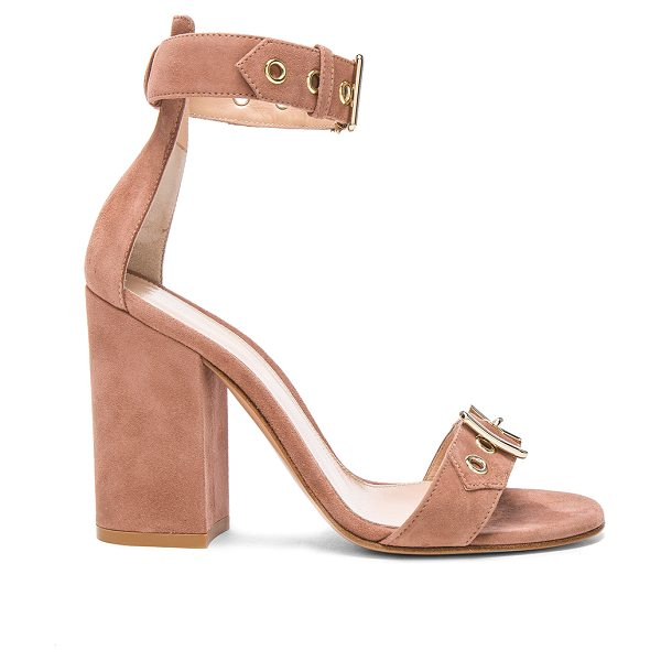 Gianvito Rossi Suede Hayes Buckle Detail Heels in neutrals - Suede upper with leather sole.  Made in Italy.  Approx...