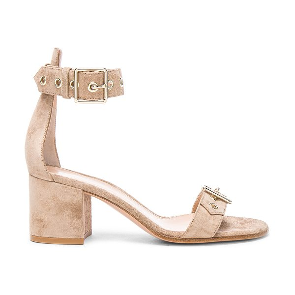 Gianvito Rossi Suede Hayes Buckle Detail Sandals in bisque - Suede upper with leather sole. Made in Italy. Approx...