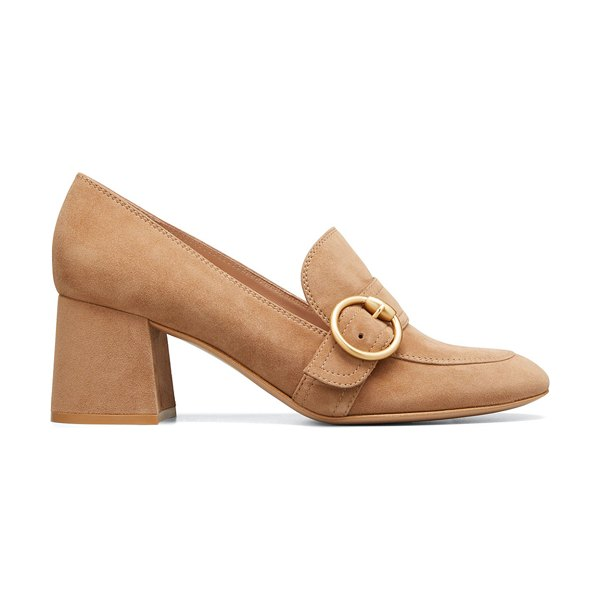 Gianvito Rossi Suede Buckle Loafer Pumps in nut
