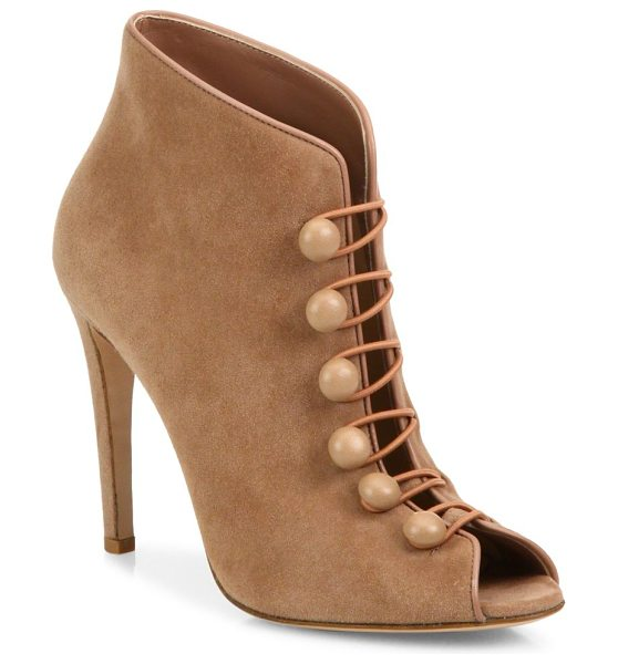 Gianvito Rossi suede button-strap peep toe booties in tan - Suede peep-toe bootie with Victoriana-inspired straps....