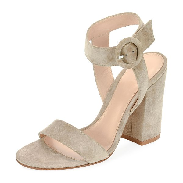 Gianvito Rossi Suede Chunky-Heel Ankle-Wrap Sandals in beige