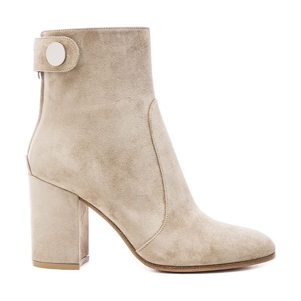 Gianvito Rossi Suede chunky heel boots in gray - Suede upper with leather sole.  Made in Italy.  Shaft...