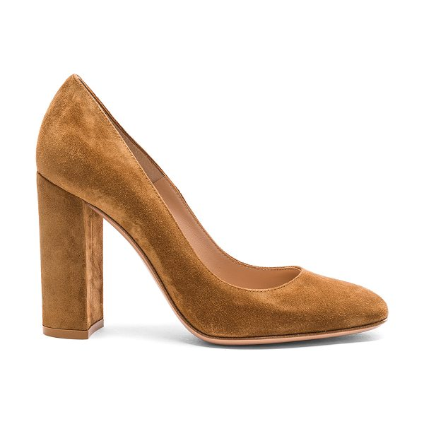 Gianvito Rossi Suede Chunky Heels in brown - Suede upper with leather sole.  Made in Italy.  Approx...