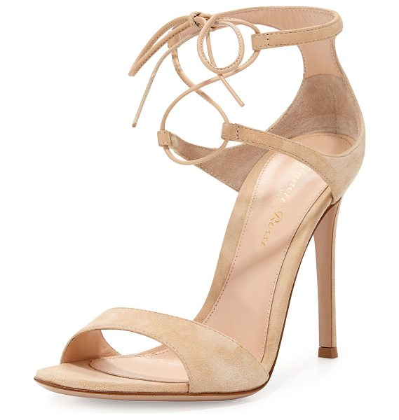 "Gianvito Rossi Suede Double Ankle-Wrap Sandal in nude - Gianvito Rossi suede d'Orsay sandal. 4.3"" covered heel...."