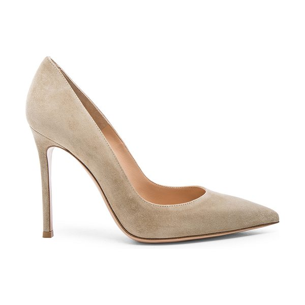 Gianvito Rossi Suede Gianvito Heels in neutrals - Suede upper with leather sole.  Made in Italy.  Approx...