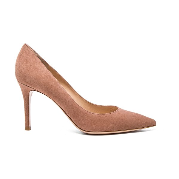 Gianvito Rossi Suede Gianvito Heels in praline - Suede upper with leather sole. Made in Italy. Approx...